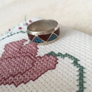 Jewelry - Sterling Silver, Turquoise and Coral ring